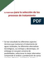Criterios para la selección de los procesos