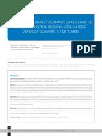 Articulo adh lavado de manos personal salud. Perú, 2016