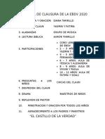 PROGRAMA DE CLAUSURA DE LA EBDV 2020