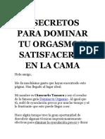 3 SECRETOS PARA DOMINAR TU ORGASMO Y SATISFACERLA EN LA CAMA