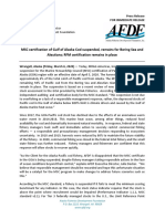 AFDF press release on GOA cod MSC certification suspension