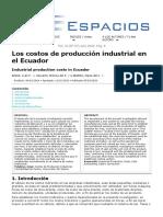Los costos de producción industrial en el Ecuador