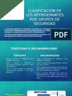 CLASIFICACION DE LOS REFRIGERANTES POR GRUPO DE SEGURIDAD