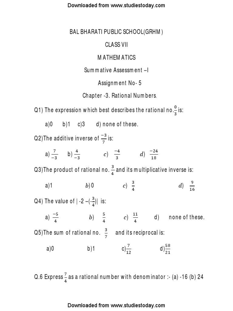Cbse Class 7 Maths Worksheet 5 Rational Number Fraction Mathematics