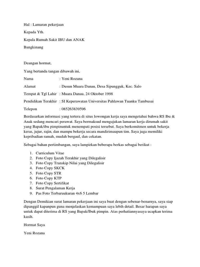 208 Contoh Surat Lamaran Kerja Perawat Scribd