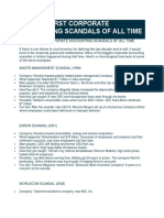 THE 10 WORST CORPORATE ACCOUNTING SCANDALS OF ALL TIME