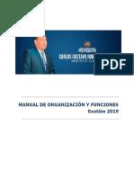 MANUAL ORG Y FUNCIONES GESTIÓN 2019