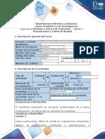 Guía de actividades y rúbrica de evaluación - Tarea 1 - Proposiciones y Tablas de Verdad