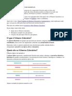 GÊNEROS LITERÁRIOS - COM EXEMPLOS