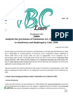 Limitation Period w/r to IBC
