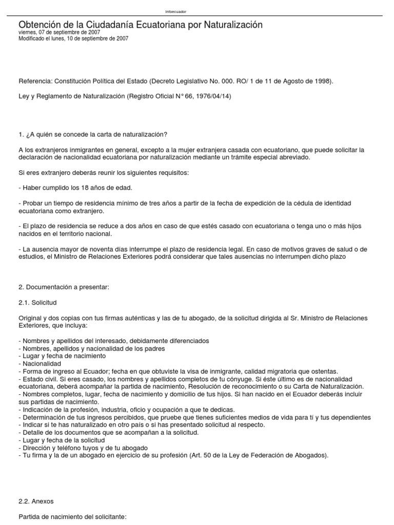 Requisitos Para La Nacionalidad Ecuatoriana