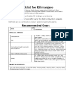 Gear & Check list for your climb INT