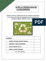 CLASIFICACIÓN DE RESIDUOS GENERADOS EN EL TALLER DE SOLDADURA
