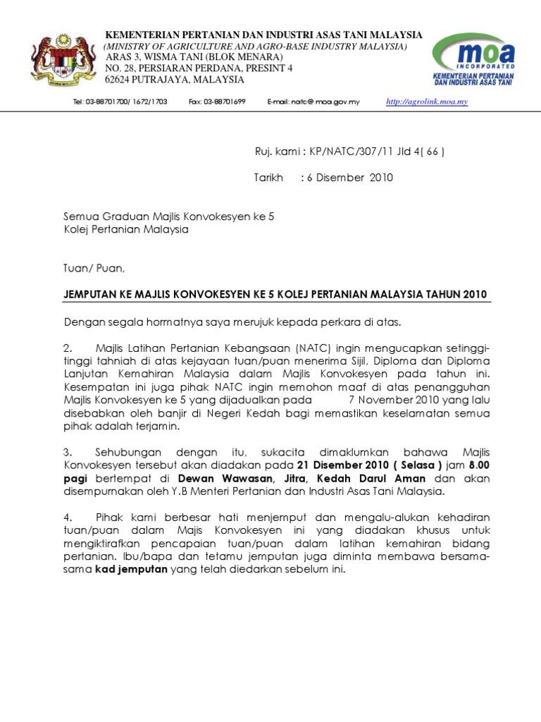 Surat Jemputan ke Majlis Konvokesyen ke - 5 Kolej