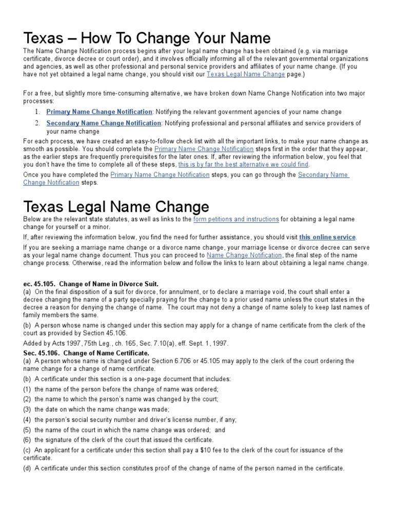 name change in texas after marriage