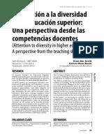 La Atencion A La Diversidad En La EducacionSuperior Y COMPETENCIAS DOCENTES