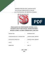 PREVALENCIA DE LA HIPERTENSION ARTERIAL EN EL PACIENTE ADULTO MAYOR  DEL CMI DAC EN EL AÑO 2019