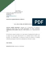 Solicita Liquidación de Crédito Olave Espinoza