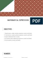 Mathematical Expresssion