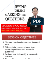 IDENTIFYING THE PROBLEMS & ASKING THE QUESTIONS