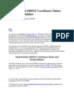 DepEd School DRRM Coordinator Duties and Responsibilities