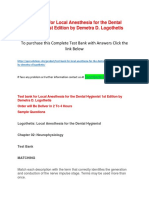 Test Bank for Local Anesthesia for the Dental Hygienist 1st Edition by Demetra D. Logothetis