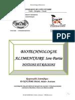 BIOTECHNOLOGIE COURS - NOTIONS ET RAISONS