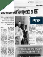 Recorte de prensa - Cine chileno habría empezado en 1897, Eliana Jara Donoso