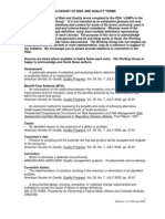 FDA - Glossary of Risk and Quality Terms