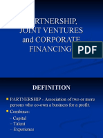 Partnership, Joint Ventures and Corporate Financing