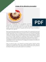 Ventajas y desventajas de los alimentos