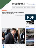 CARTA _ Abogados en DD.HH. emplazan a Bachelet por rol de COX _ El Desconcierto