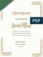 Champagne Gold Decorative Frame Appreciation Certificate