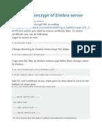 Renew letsencrypt of Zimbra server