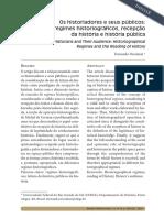NICOLAZZI, Fernando. Os historiadores e seus públicos REVISTA HISTÓRIA HOJE