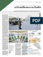 Confinan a 16 Millones en Italia