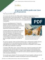ConJur - Contrato de abertura de crédito pode usar taxa DI para encargos