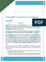 KFORD Governance Policy