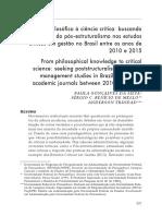 Do saber filosófico à ciência crítica- buscando evidências do pós-estruturalismo nos estudos críticos em gestão no Brasil entre os anos de 2010 e 2015