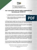 Comunicado de Prensa COVID-19 2