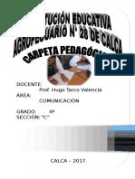 CARPETA PEDAGÓGICA DE COMUNICACIÓN 4° con RA