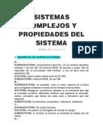 SISTEMAS COMPLEJOS Y PROPIEDADES DEL SISTEMA