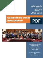 Informe de gestión - Comisión de Constitución y Reglamento (2018-2019)