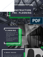 CONSTRUCTION PRE PLANNING AND TIMETABLE