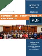 Informe de gestión - Comisión Constitución y Reglamento 2019-2020.