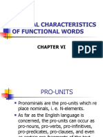 General Characteristics of Functional Words