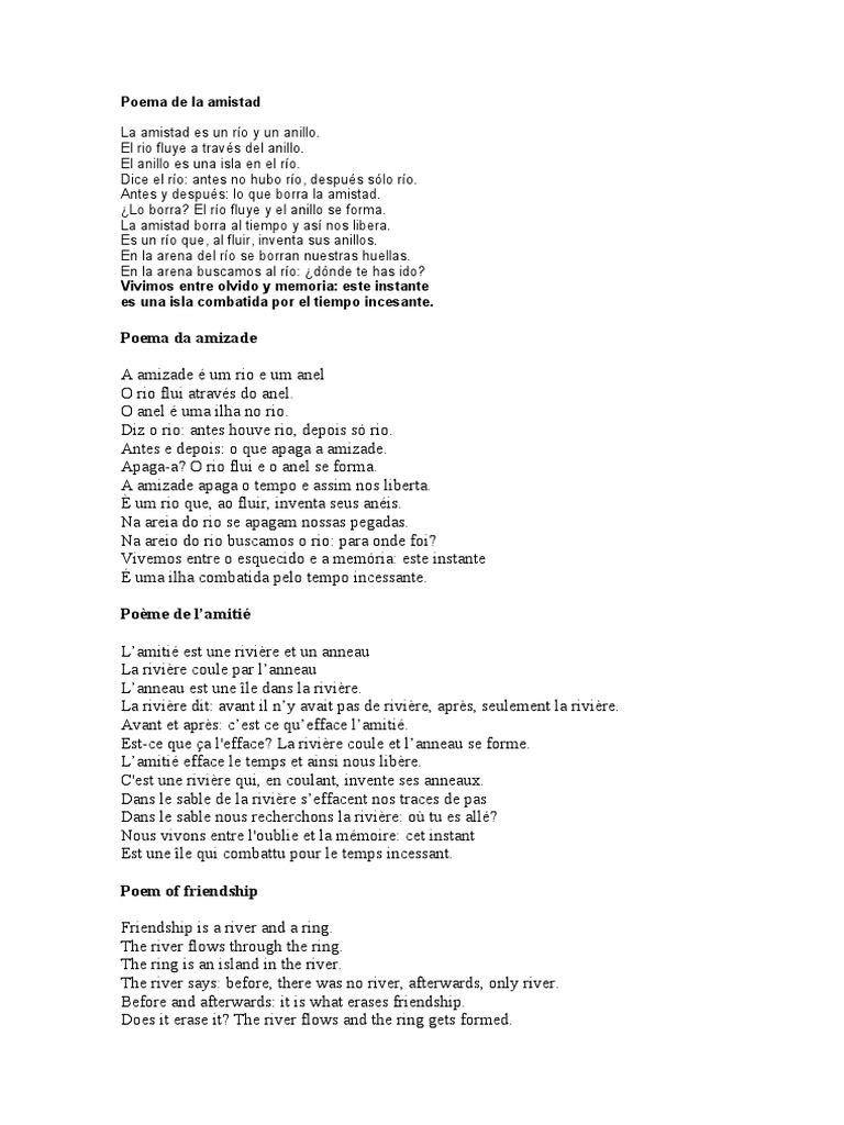 Poema De La Amistad Octavio Paz