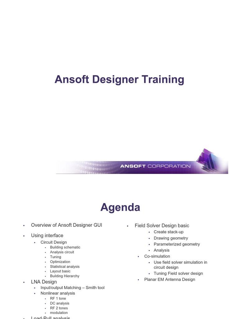Ansoft Designer Training | Icon (Computing) | Menu (Computing)