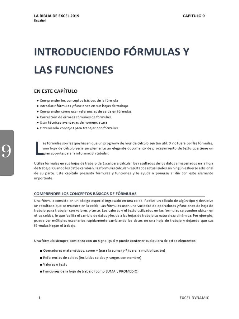 Capitulo 20 Trabajar Con Fórmulas y Funciones   Fórmula ...
