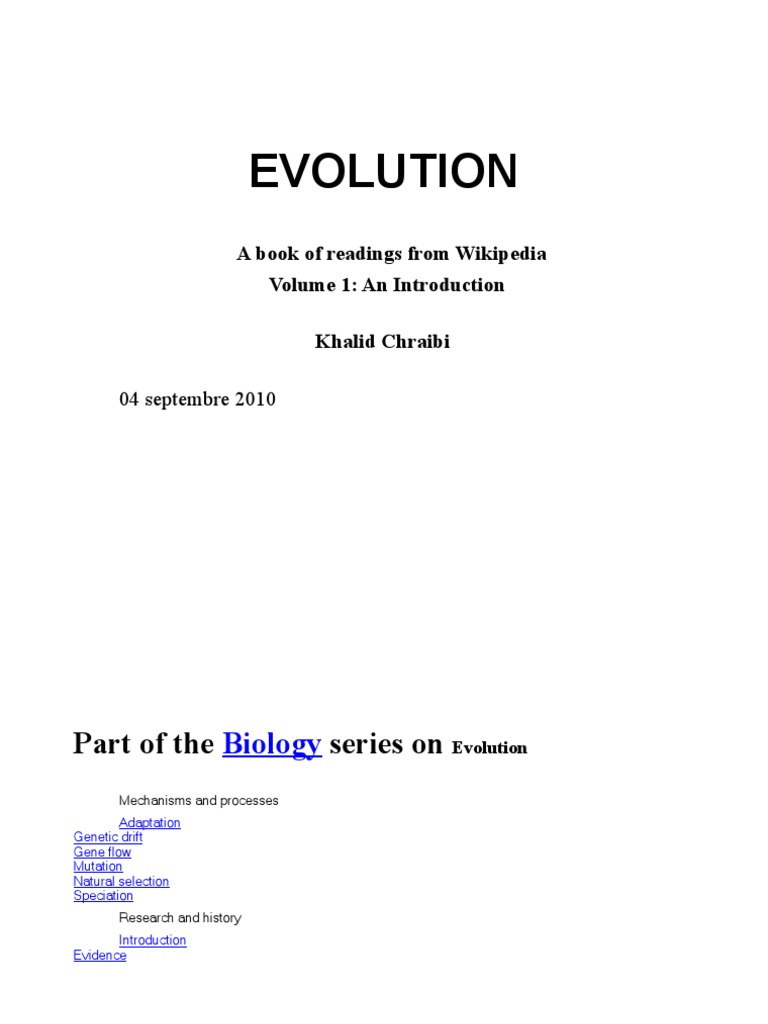 Evolution Book - Articles from Wikipedia e & Fr Vol 1